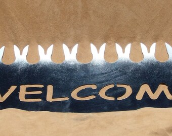 """Unique """"Welcome"""" saw-metal sign"""