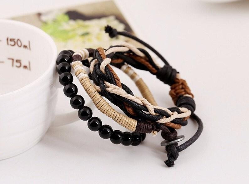 Men/'s Beaded and Braided Rope Bracelet Men Rope Bracelet Set Juego de Pulseras Brazalete para Hombre Black Beads Braided Rope Bracelet