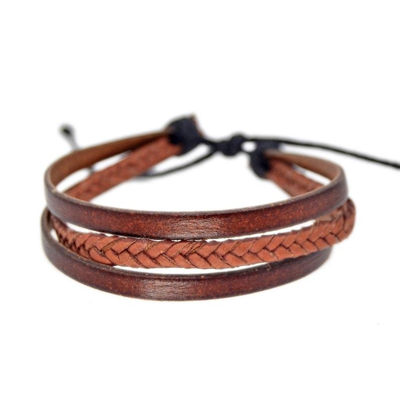 nuevo estilo 12a78 c5ee3 Brown Men Leather Bracelet, Multilayer Leather Bracelet, Brown Leather,  Brazalete Piel Hombre, Pulsera Piel, Men Leather Wristband Bracelet