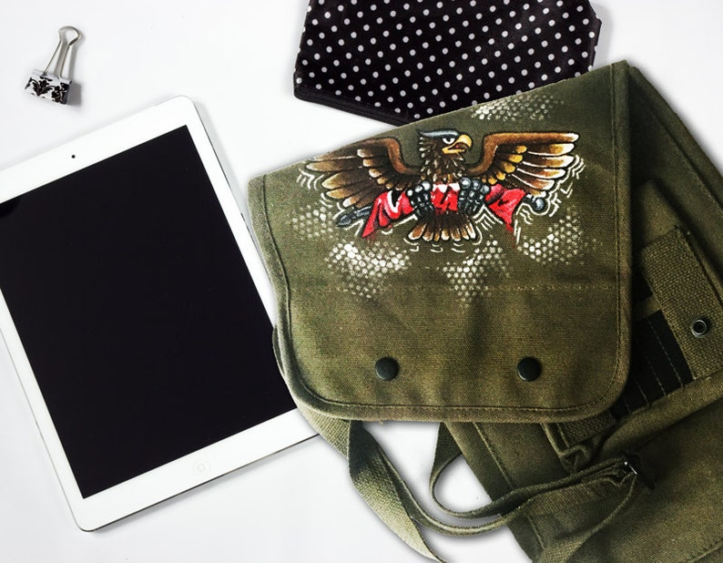 cb942d8de Aztlan Military Hand Painted Bag Hand Painted Bag Military | Etsy