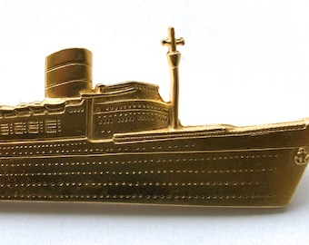 JJ cruise ship boat gold-tone pin brooch signed