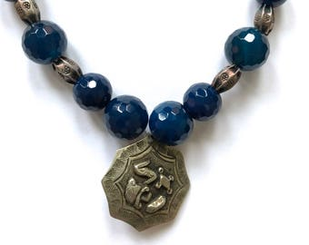 Blue Chalcedony & Lapis stone sterling silver necklace ethnic