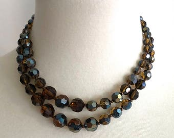 Marvella brown iridescent crystal faceted bead double strand necklace