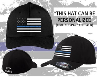 a4d89c29889 Police    Navy    Air Force    Thin Blue Line    Fitted    Flexfit    Hat     Police    Support    Blue Line Flag