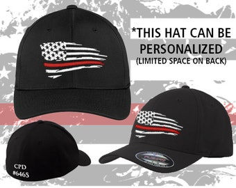 20a613e819c Firefighters    Coast Guard    Marines    Thin Red Line    Fitted     Flexfit    Hat    Support    Wavy Thin Red Flag