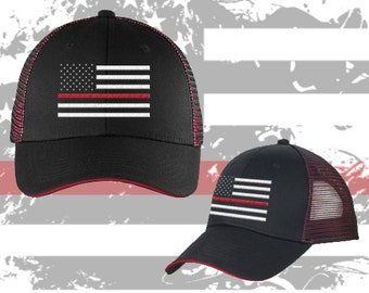 029333f4 Firefighter // Coast Guard // Marines // Thin Red Line // Mesh // Contrast  // Hat // Support // Flag