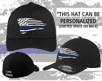 Police    Air Force    Navy    Thin Blue Line    Fitted    Flexfit    Hat     Support    Wavy Blue Line Flag 0ded5cd142f8
