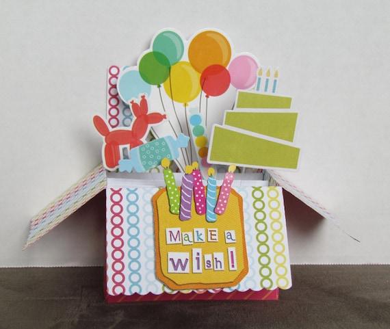 Pop Up Box Card Happy Birthday Candles Cake