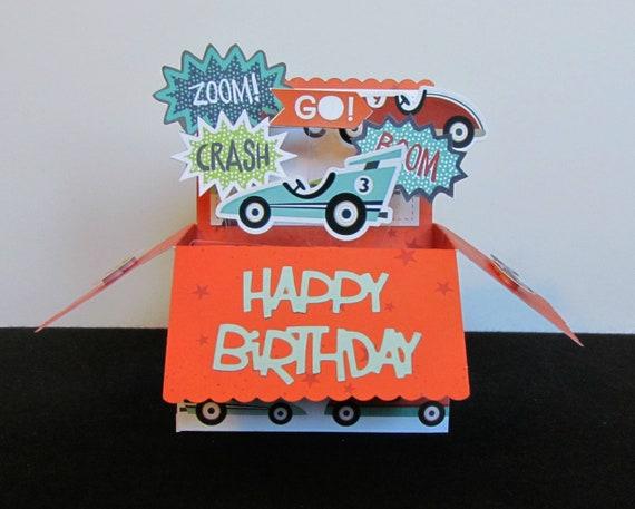 Boys Pop Up Box Card Happy Birthday Card Race Car Birthday