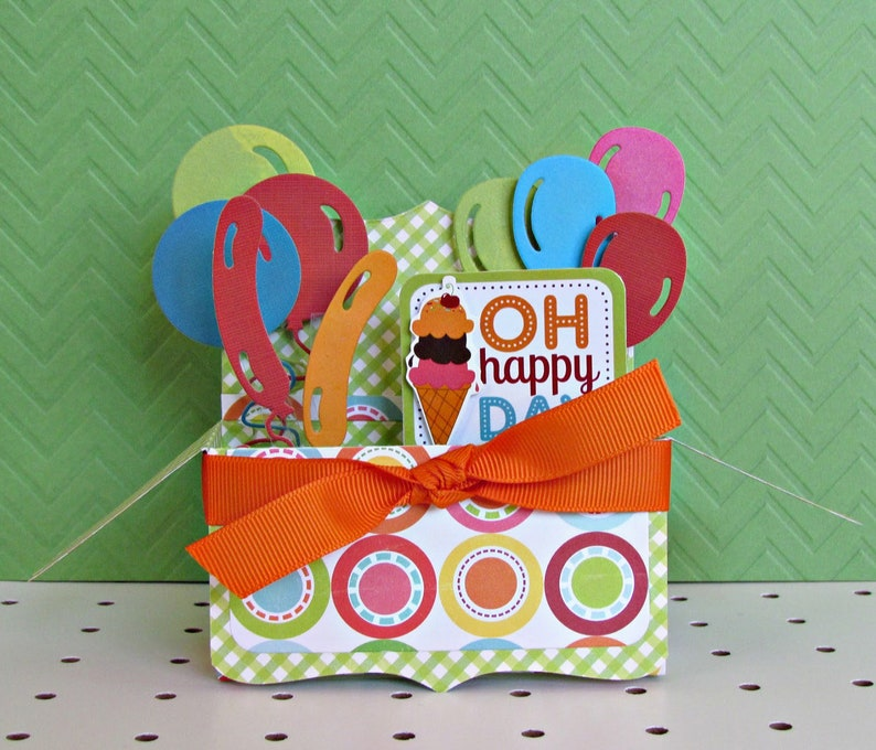 Pop Up Box Card Happy Birthday Oh Happy Day Birthday Ice Etsy