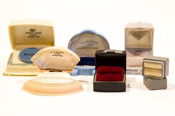 Vintage Celluloid Ring Box, Art Deco Ring Box, Cel