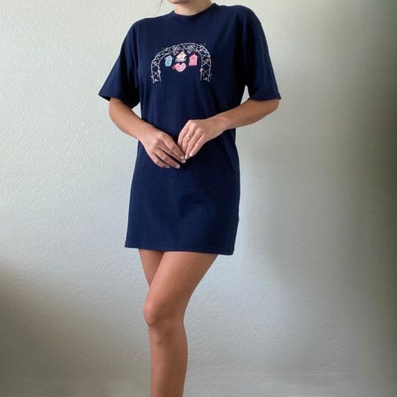 Vintage Embroidered Tshirt Dress