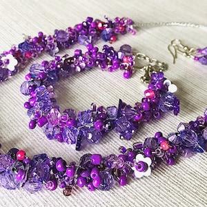 Blue Turquoise Silver beads Handmade Crocheted Beaded Necklace Bracelet Earrings set \u201cELISE\u201d Cluster chunky style