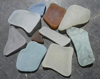 10 sea glass pieces 0.5''- 1.5''[1.3-3.8cm]. Genuine natural beach glass. Surf tumbled glass for various crafts and jewelry making.