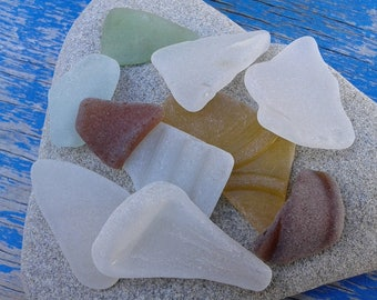 10 sea glass pieces 0.7''- 1.8''[1.8-4.5cm]. Genuine natural beach glass. Surf tumbled glass for various crafts and jewelry making.