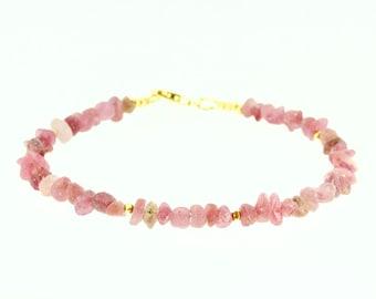 Raw Pink Sapphire BraceletPink SapphiresPink Gemstone BraceletPink Sapphire JewelryHandmade JewelryValentine/'s Gift for HerUK Seller