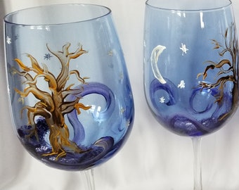 Starry Midnight Oak on Cobalt Blue with Crescent Moon - Hand Painted Wine Glasses (Set of 4)