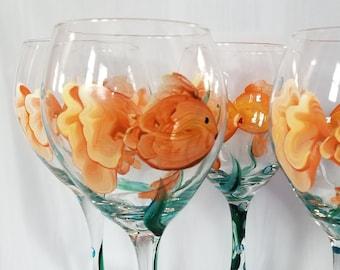 Goldfish Bubbles - Hand Painted Wine Glasses (Set of 4)
