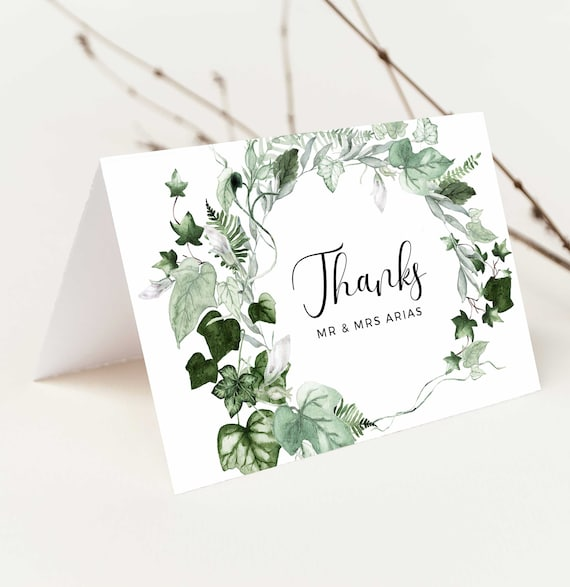INSTANT DOWNLOAD DIY #068B-115TYC Garden Thank You Note Card Template Editable Printable Greenery Wedding  Bridal Shower Folded Card