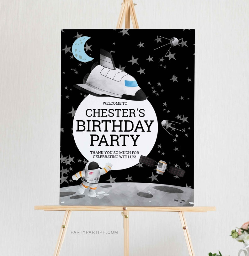 Instant Download Welcome Sign Template Boy Invite Outer Space Birthday Poster Sign Editable Astronaut Birthday Welcome Sign Poster 0062