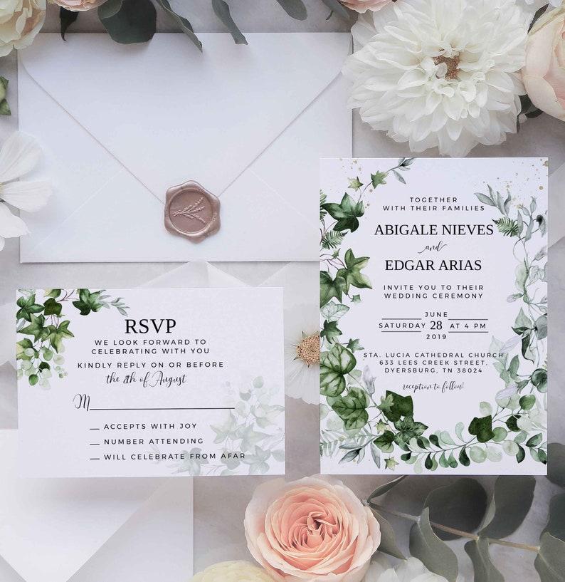Ivy Greenery Wedding Invitation Template Set INSTANT image 0
