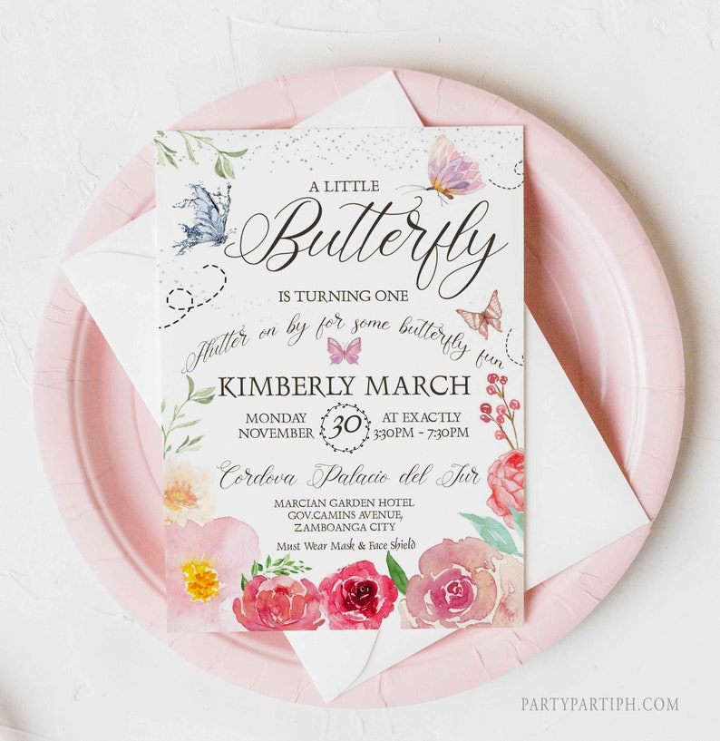 Editable Butterfly Birthday Invitation Girl Floral Butterfly image 0