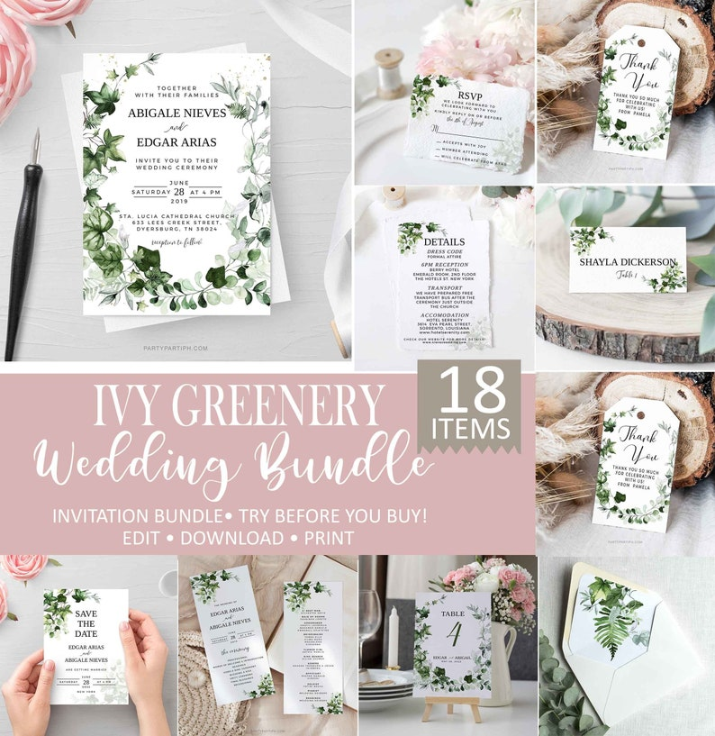 Ivy Wedding Invitation Template Set Greenery Wedding Invite image 0