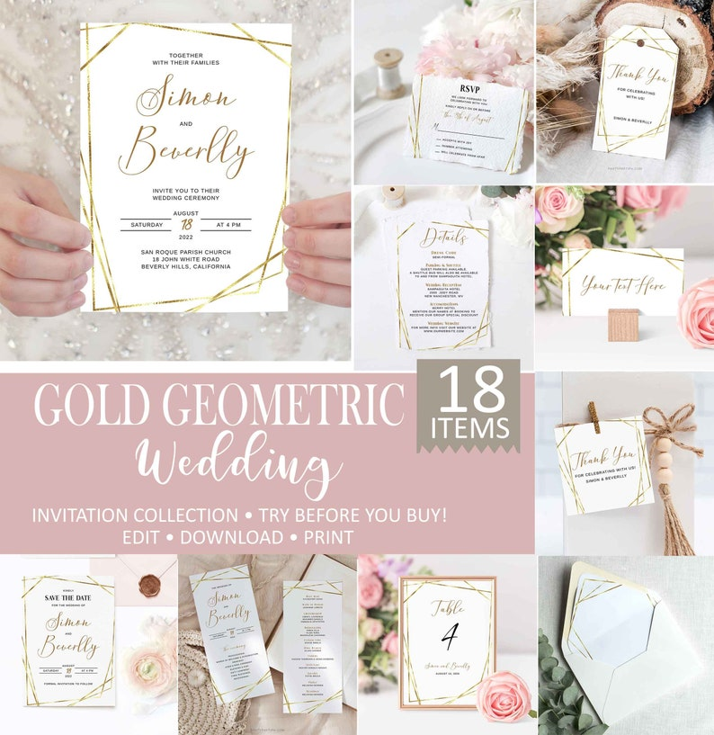 0006 Greeting Cards \u2022 INSTANT DOWNLOAD \u2022 Printable Template Gold Geometric Thank you Notes Editable Gold Wedding Thank You Card Template