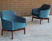 Pair of Jens Risom Swivel Lounge Chairs New Upholstery