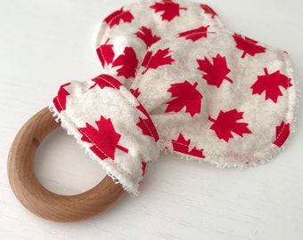 Baby Teething Ring - Maple Leaf Fabric teether, Hardwood Ring, Cotton and Terry Cloth Bunny Ears, Canadian Baby, made in Canada, chewy, gift