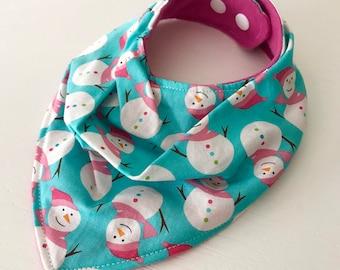 Cute baby girl bib, winter snowman Cotton Fabric Bandana Bib - Holiday Drool Bib - Teething bibdana, Cotton with Flannel, adjustable size