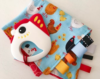 Cute Chicken Mini Security Blanket with Silicone Teether, Lovey, Taggie, Soft Flannel and Cotton Fabric, Baby Farm gift, Teething blanket