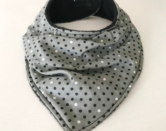Adjustable Bandana Bib, polka dot Slouchy Drool Bib - Baby Dribble Bib - Black, White, Grey Cotton Fabric & Black Fleece - KAM Snap fastener