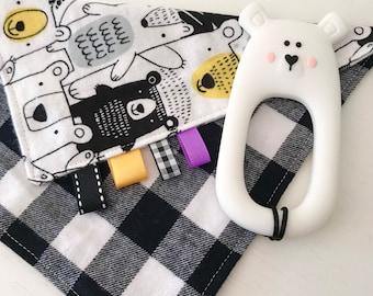 Baby Bear teether, Mini Taggie Lovie, Security Blanket, Snuggle flannel ribbon blanket, buffalo plaid gift, Teething blanket, polar bear