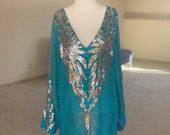 Zippered Sleeves Medium-Large 1940s50s Teal Beaded Dress