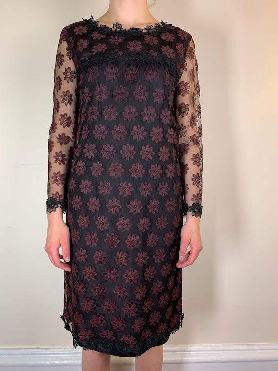 1960s Sheer Lace Flower Overlay Mini Dress