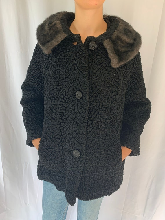 1950s Faux Persian Lamb Black Jacket with Faux Fur
