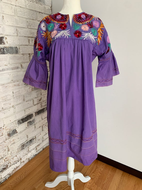Vintage Purple Embroidered Puff Sleeve Dress / Muu
