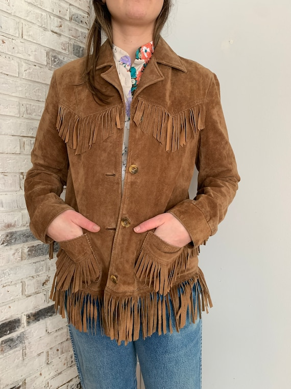 Vintage Tan Suede Leather Fringe Jacket Size Small