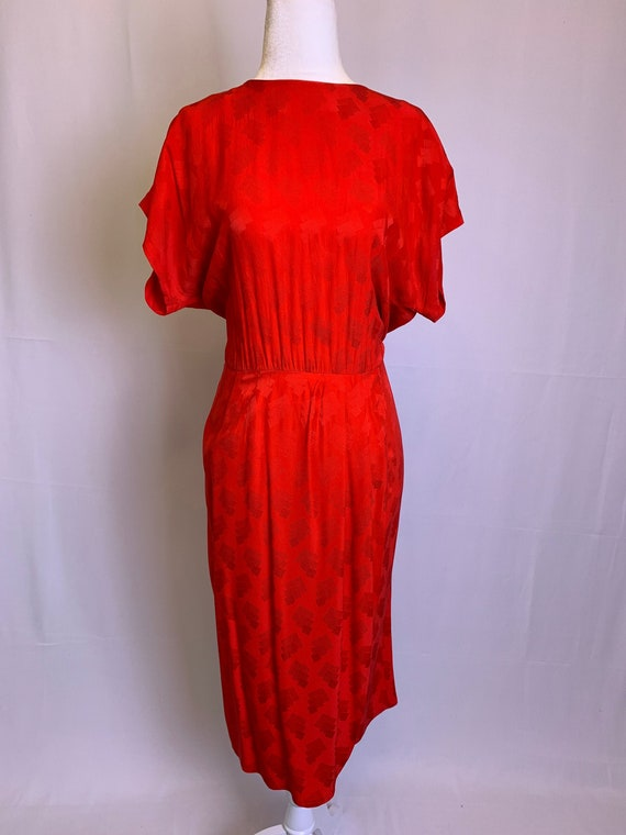 Red Silk Patterned Button Back Dress