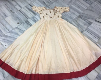 96df600e78 Beautiful rawsilk anarkali with hand work all over - long frock /Gown/  Anarkali