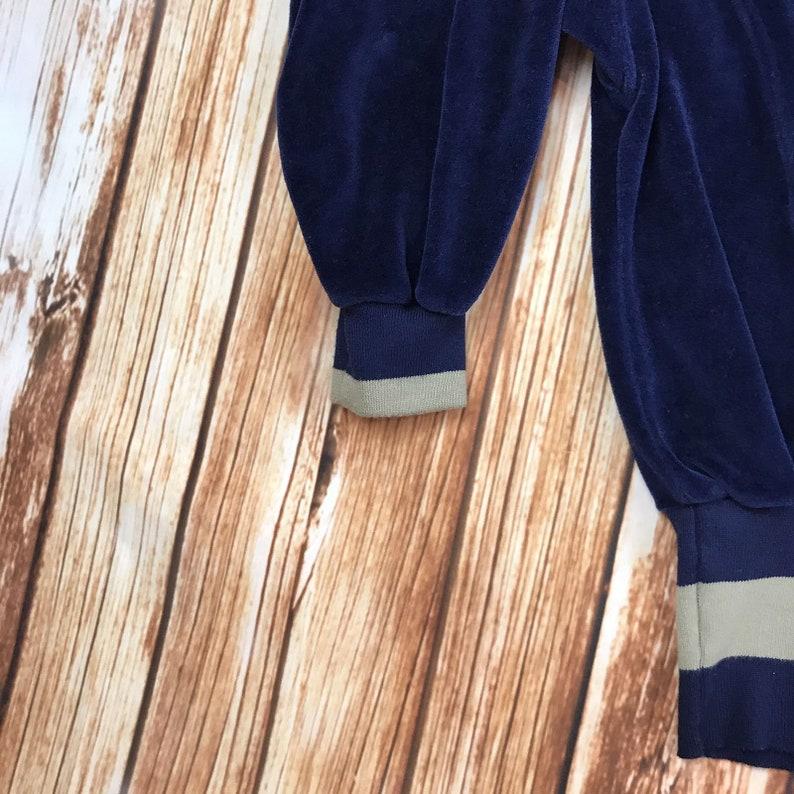 Nancy Heller France Vintage Womens Large Velvet Velour Navy Blue Sweater Pullover 12 Zip Nautical Sailing Beige Trim Long Sleeves Stretchy