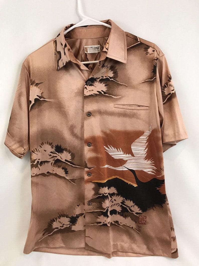 c4c8c789 NAPILI Hawaii Vintage Polyester Crane Hawaiian Shirt Button   Etsy