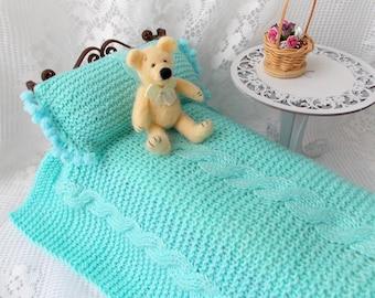 Doll knitted blanket & pillow bedding set  bright blue turquoise Blythe Monster high Barbie Bratz 1/6 bjd 12 inches duvet Doll knitted plaid