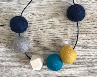 Felt ball + wood bead adjustable necklace // navy - mustard - teal - stone