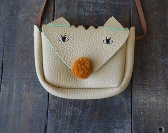 Cream Kitty toddler and little  messenger bag