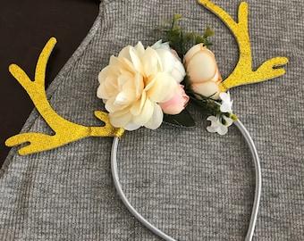 Holiday Floral Antler Headband