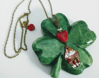 Christmas Necklace with Enameled Copper Gingerbread House and Sugared Heart Lampwork Beads, Holiday Necklace, Artisan Enamel and Glass Beads