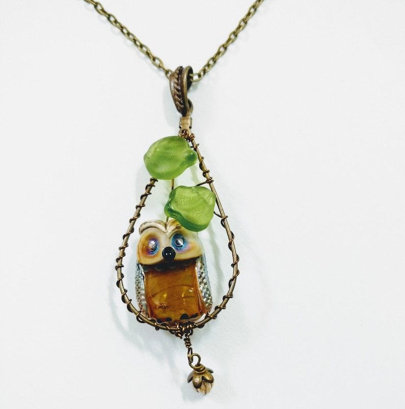 Nature Necklace Glass Owl Necklace Neutral Long Antique Bronze Necklace Wire Wrapped Lampwork Owl Bead Necklace Artisan Bead Necklace