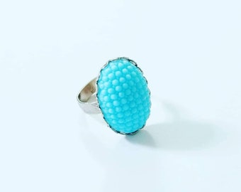 Aqua Hobnail Milk Glass Statement Ring, Silver Tone Ring with Vintage Glass Cabochon, Large Ring with Blue Glass, Adjustable Hobnail Ring
